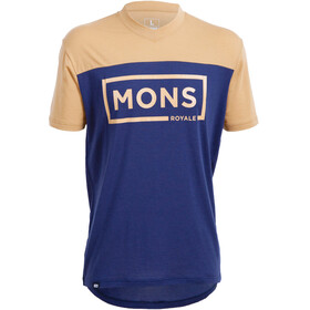 Mons Royale M's Redwood V Box Logo T-Shirt Navy/Desert